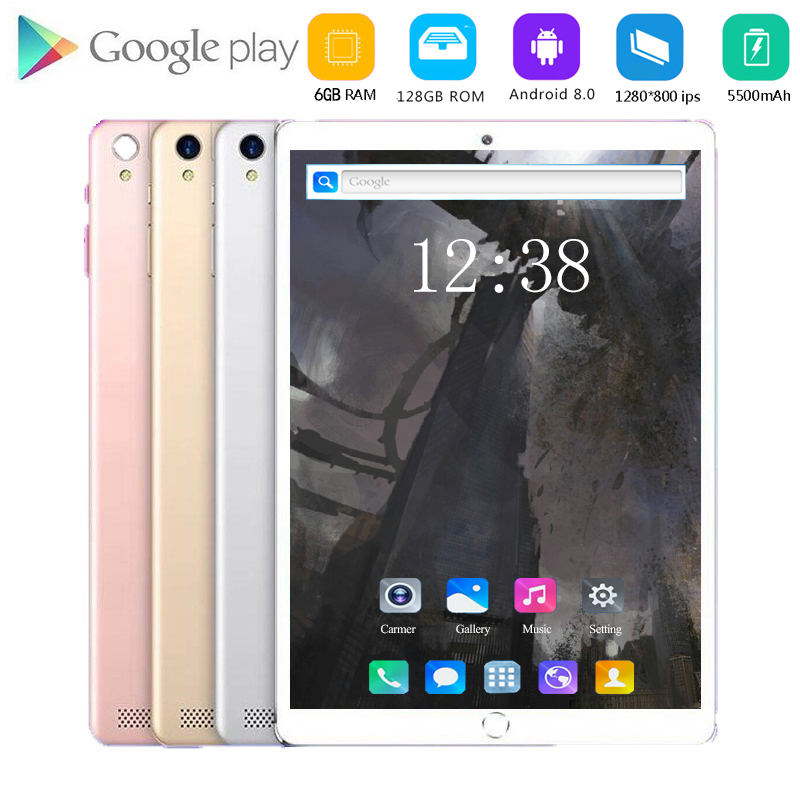 New 10 Inch Android 8.0 Tablet Pc 128GB ROM Octa Core Dual SIM Wireless FM IPS Screen 4G Phone Tablet Google WIFI GPS Bluetooth