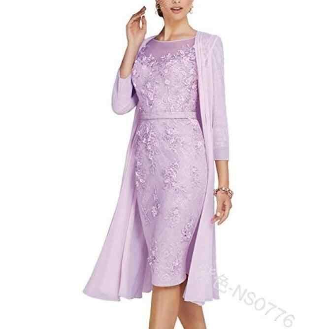 Mother of The Bride Dresses Plus Size Women Long Lace Dress Suits Chiffon  Jacket Set Elegant Ladies Formal Wedding Guest Wear