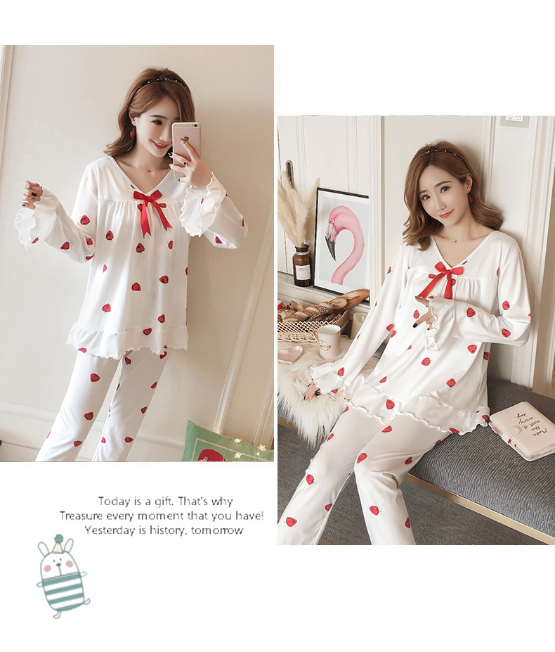 Autumn Women Cotton Pajamas Sets 2 Pcs Cartoon Printing Pijama Pyjamas Long Sleeve Bowknot Pyjama Sleepwear Sleep Set 51