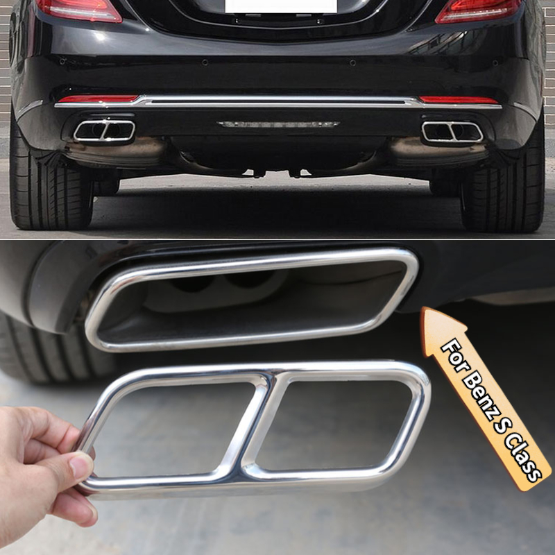 Car Steel Pipe Throat Exhaust Tail Frame Trim Cover For <font><b>Mercedes</b></font> <font><b>Benz</b></font> S Class W222 Coupe W251 R <font><b>GL</b></font> Class <font><b>X166</b></font> AMG <font><b>Accessories</b></font> image