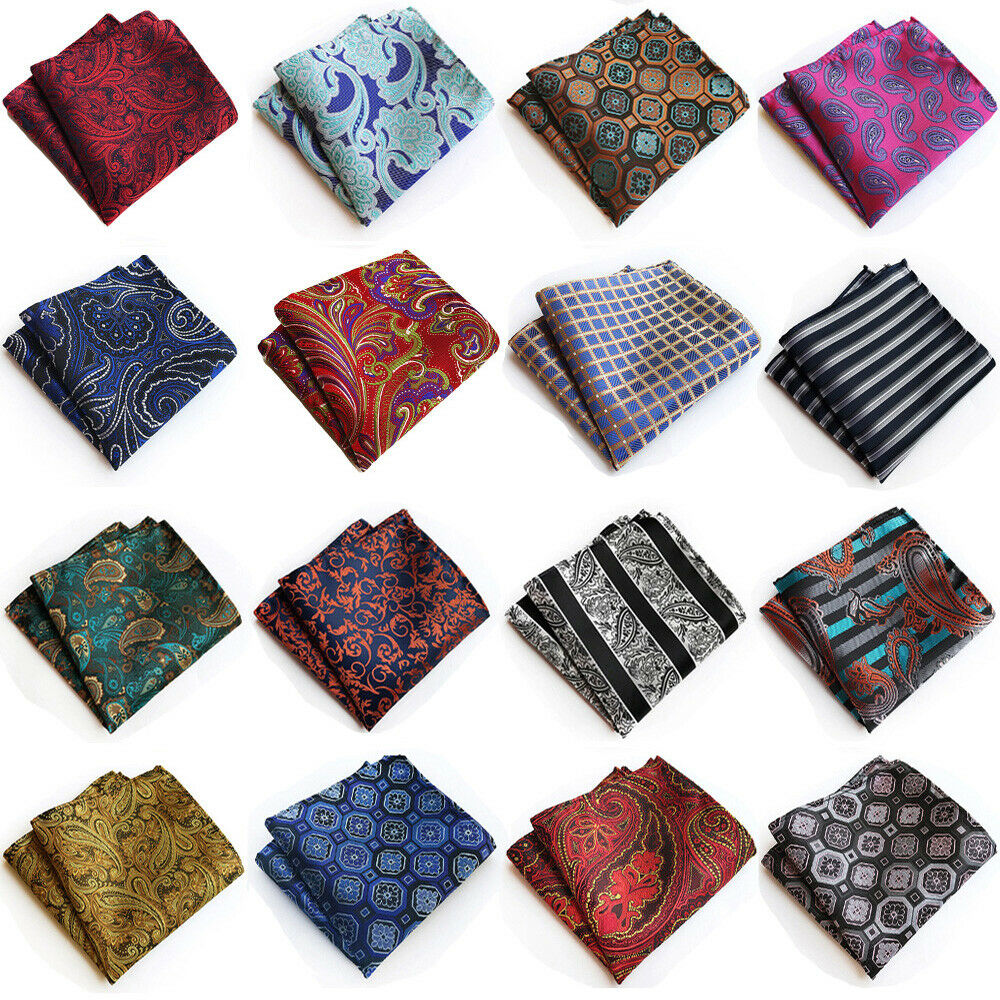 Mens Pocket Square Paisley Floral Printed Hanky Handkerchief Wedding Party
