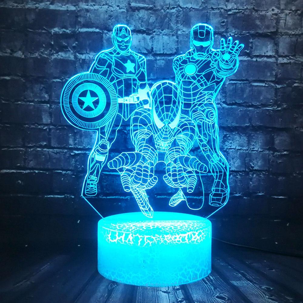 Table Sensor Lamp Avengers Marvel Hero Illusion 7 Color USB Charge Iron Spider Man Captain America Cartoon LED Decor Room Mood K