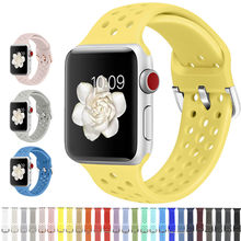 Compatible rubber Band for Apple Watch 4 5 6 3 2 1 SE 40mm 44mm soft breathable Silicone Sport Strap for iWatch Series 38MM 42MM