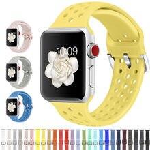 Faixa de borracha compatível para apple watch 4 5 6 3 2 1 se 40mm 44mm macio respirável silicone esporte cinta para iwatch série 38mm 42mm