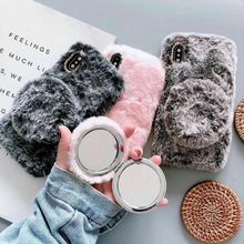 Leuke Warm Rabbit Fur Case Voor Samsung S10 Plus S8 S7 Rand Slanke Pluche Bling Diamond Fluffy Zachte Spiegel Cover voor Galaxy S9 Plus