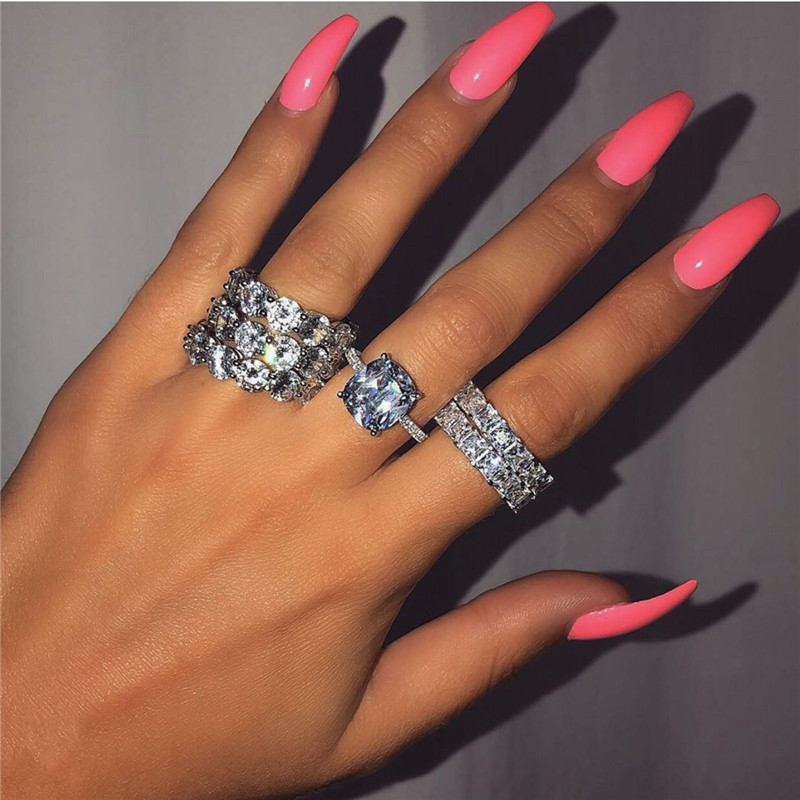 Valuable Diamond ring 925 Sterling silver AAAAA Cz Engagement wedding band rings for women Bridal Fashion Party Jewelry