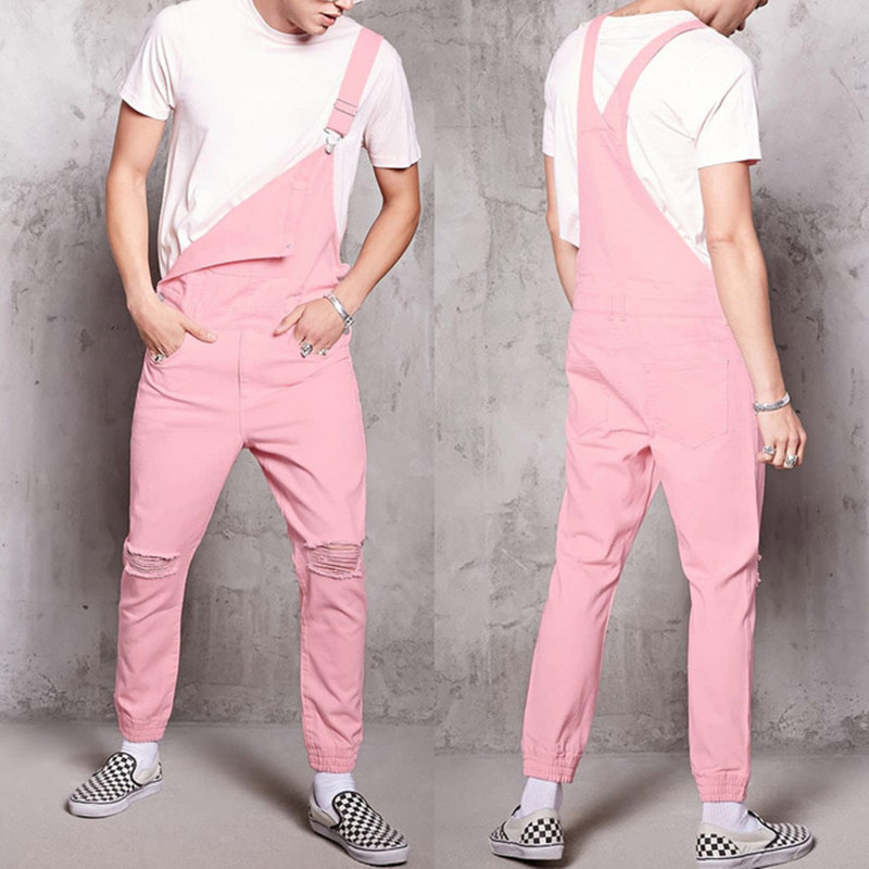 Rompers Mens Jumpsuit 2020 New Fashion Cotton Casual Male Denim Ripped Jeans Pants Pink Overalls Conjunto Masculino Plus Size