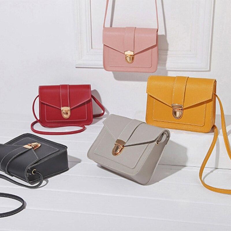 US $3.79 5% OFF|S.IKRR nowe modne torebki Crossbody dla kobiet prosta blokada twarda skóra ekologiczna Mini kwadratowe torby na ramię Messenger