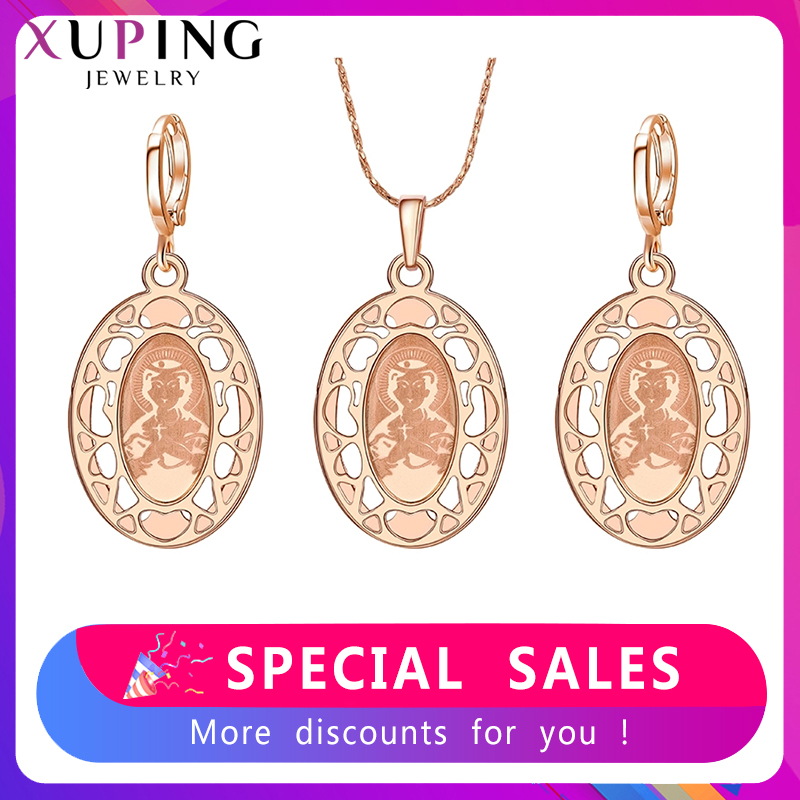 Xuping Fashion Jewelry Sets High Quality Religion Gold Color Plated Pendants Earring Luxury Jewelry S27-60145