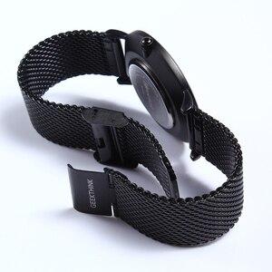 Image 3 - GEEKTHINK reloj de cuarzo para hombre, correa de malla de acero inoxidable, informal, negro