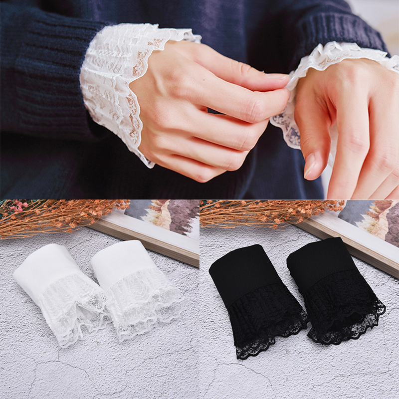 1pair Women Girls False Cuffs Decorative Chiffon Fake Flare Sleeves Floral Lace Pleated Ruched Apparel Wrist Warmers With Button