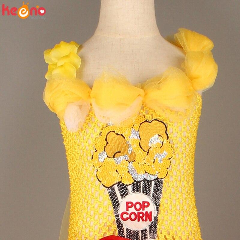 Circus Popcorn Girl Tutu Dress Carnival Birthday Party Wedding Flower Sequin Ball Gown Costume Kids Pop Corn Food Tulle Dress 6