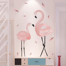 [shijuekongjian] Pink Flamingo Wall Stickers DIY Birds Animal Mural Decals for House Kids Rooms Baby Bedroom Decoration