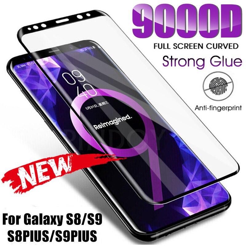Защитное стекло 9000D для Samsung Galaxy S6 Edge-S9 Plus, Note 8/9, с изогнутыми краями