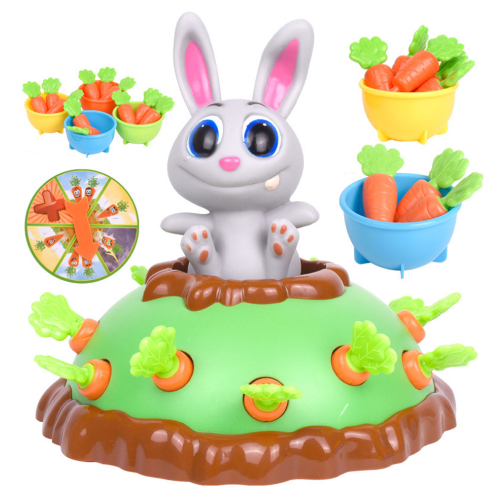 Kids Electric Pet Toy Funny Rabbit Pull-Up Carrot Toy Radish Interactive Game ABS Plastic Table Game For Kids Educational Toy