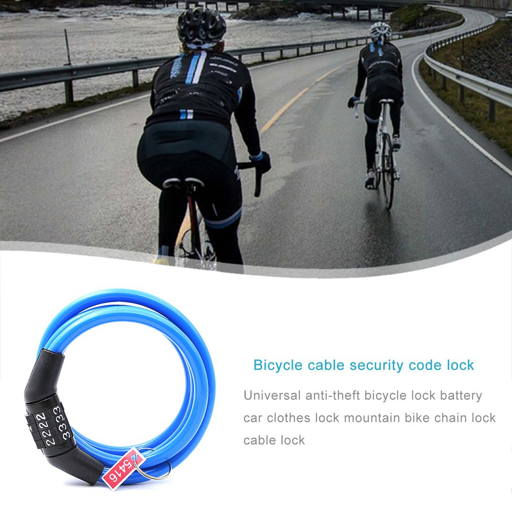 Bike Universal Anti-Theft Lock Stainless Steel Cable Coil Bike Security Lock US