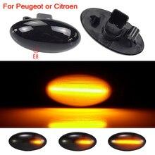 2pcs For Peugeot 307 206 407 107 607 1007 Citroen C1 C2 C3 C4 C5 Led Dynamic Turn Signal Light