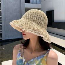 Women's bucket hat solid color Japanese lace Cap Korean linen mixed woven shade Bucket hat Fashionable foldable shade bucket hat