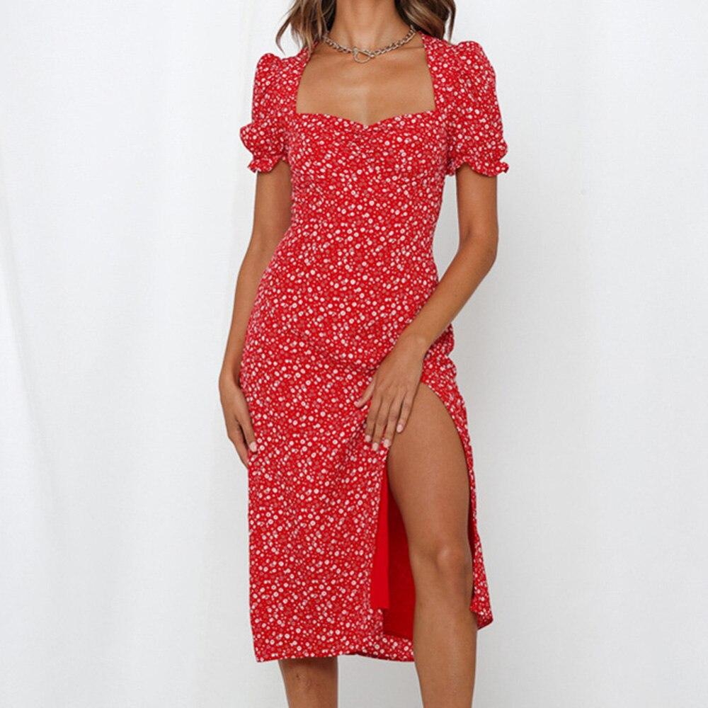 Polka Dot Dress for Women Blue Red Puff Sleeve Square Collar Sexy Split Elegant Midi Dress Female Summer Bohemian Sundress
