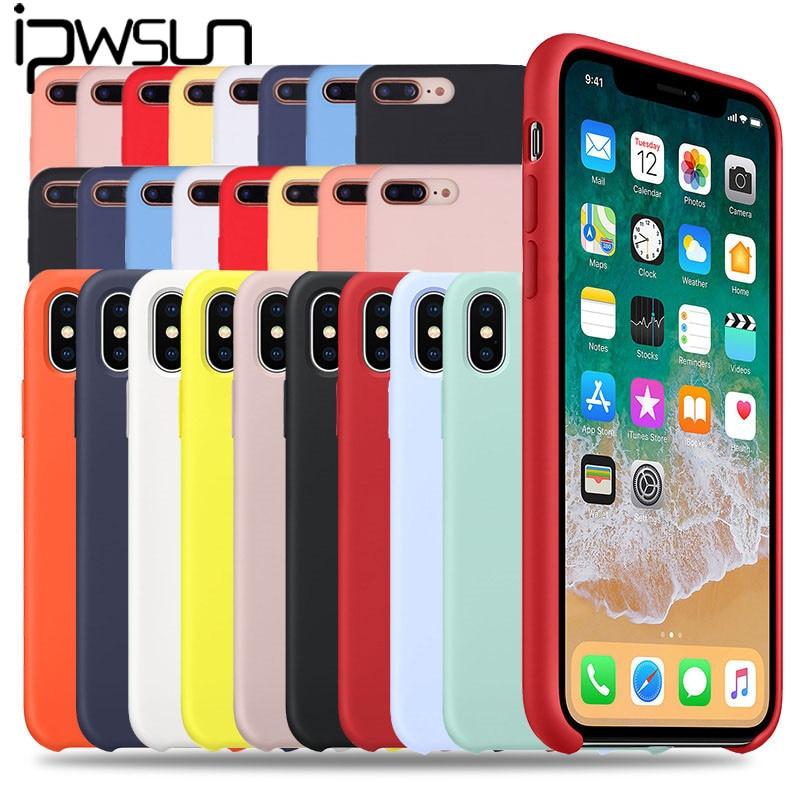 IPWSOO Oficial Original Capa de Silicone Para o iphone 11 Pro Max X XR XS Max Doce Cor Caixa Do Telefone Para o iphone 7 6 6s 8 Mais Cobertura