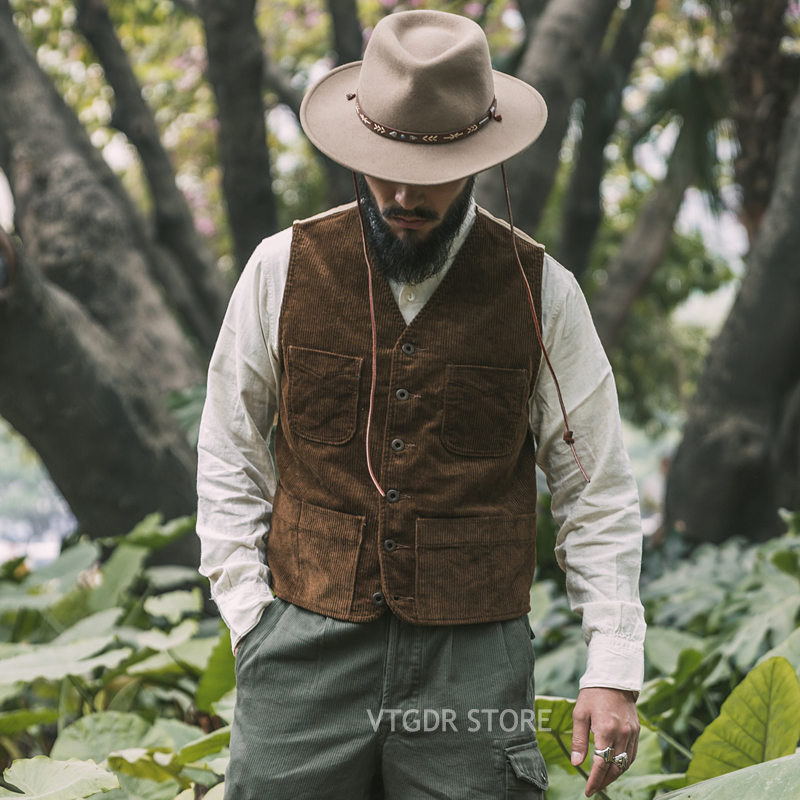 Bronson Outdoor Corduroy Hunting Vest 1940s Vintage Inspired Men Field Waistcoat
