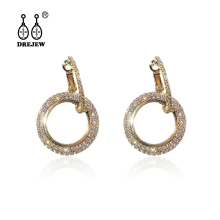 DREJEW Rose Gold Silver Blue White Circle Earrings Fashion Cute 925 Crystal Hoop Sets for Women Weddings Jewelry AE9600