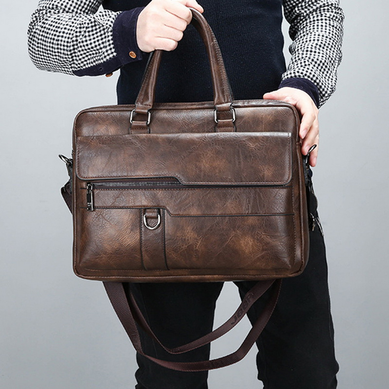New Retro Men Solid Color Bag Faux Leather Briefcase Large Capacity Tote Shoulder Bag Large Casual Business Laptop Briefcase