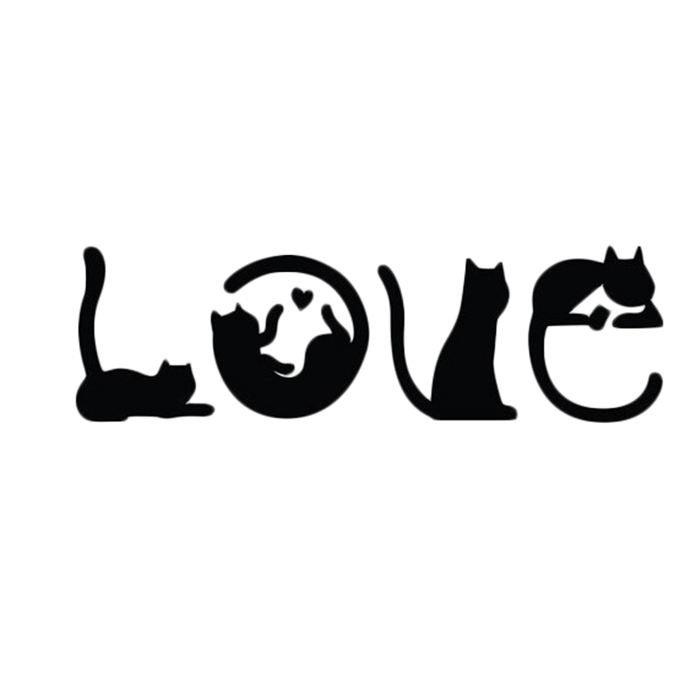Cats Spell LOVE Fashion Creative Cartoon Car Sticker Windshield Decorative Decals(China)