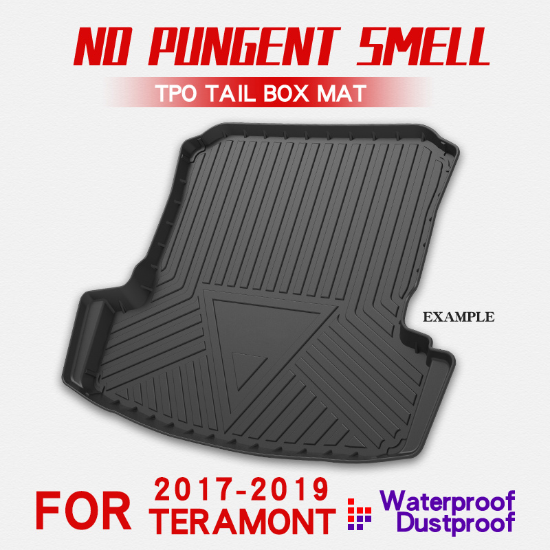 TPE Material All-Weather Car Trunk Floor Mat Cargo Liner Rear Cargo Tray Black Protector For Volkswagen Teramont 2017-2019