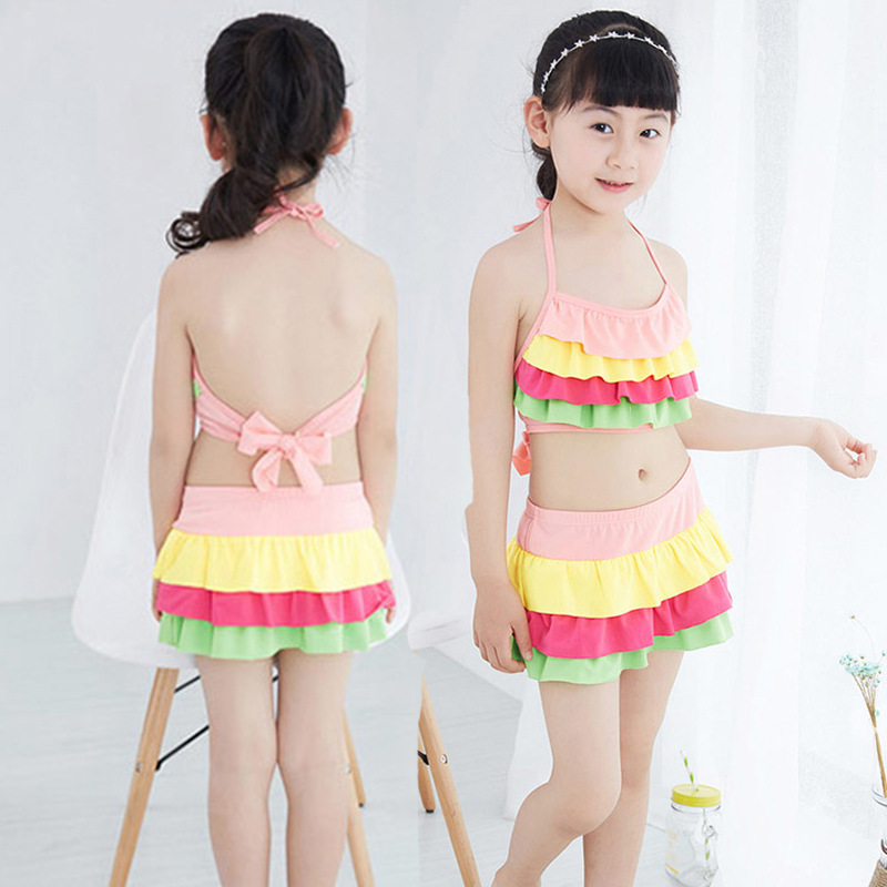 Bathing Suit Girls Cute Big Boy Stripes Split Skirt Bikini Boxers Beach Swimwear Nt8016