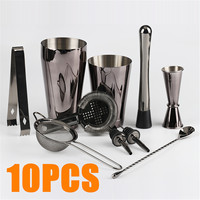 750ml/600ml 10 Piece Set Stainless Steel Cocktail Shaker Set Mixer For Bartender Drink Bar Tools