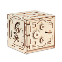 Wooden Mechanical Model 3D Puzzle Password Locker Educational Toys DIY Gift For Kid Famlily Safe Mechanical Model