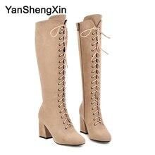 YANSHENGXIN Shoes Woman Boots 19 Eye Genuine Fur High Heel Women Boots Autumn Winter Boots Pointed Toe Shoes Ladies Booties boots eye boots
