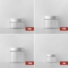 50-250g plastikowe przezroczyste puste opakowanie na kosmetyk słoik z pokrywa aluminiowa wielokrotnego napełniania butelki z próbkami podróży krem do twarzy balsam naczynie na kosmetyki