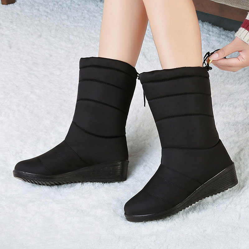 New Mid-calf Boots Plush Warm Snow Boots Female Winter Shoes Waterproof Women Boots Fashion Women Winter Boots Plus Size 42 43