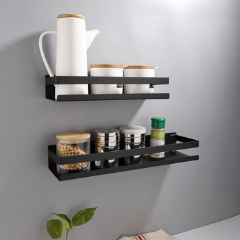 Estantes de esquina de baño modernos, color negro mate, 20-50cm, estante de pared para cocina, ducha, baño, champú, estante de almacenamiento