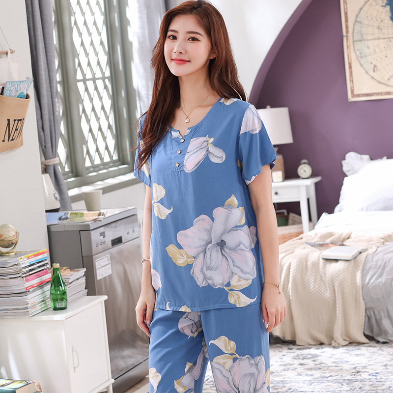 Pajamas Home Suit For Women Spring And Summer Newest Short-Sleeved Tops With Long Trousers Cotton Homewear Set Plus Size