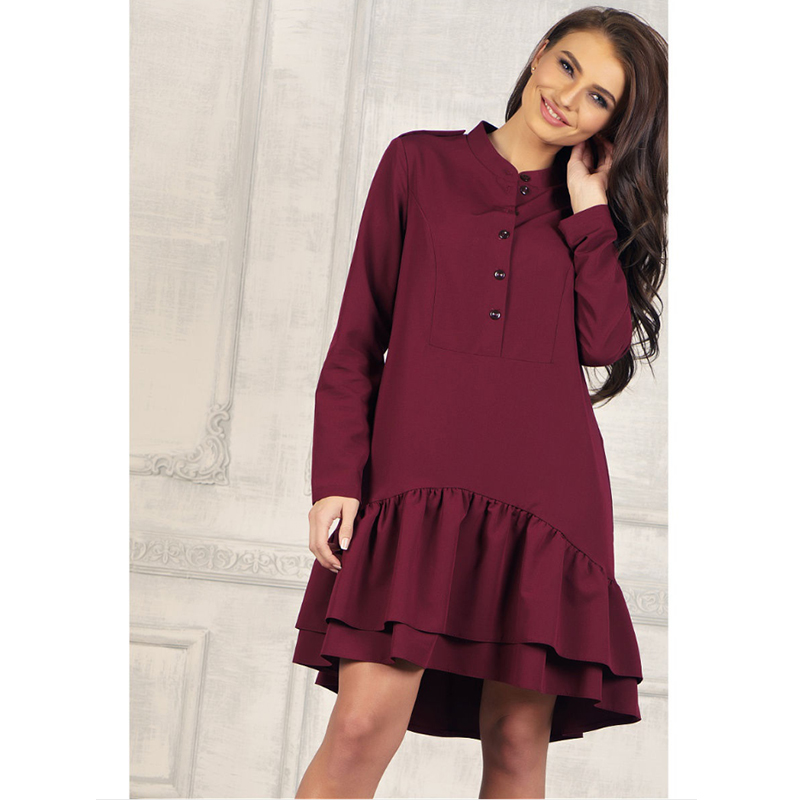 Women Vintage Ruffled Front Button A-line Dress Long Sleeve Stand Collar Solid Casual Dress 2019 Autumn New Fashion Women Dress