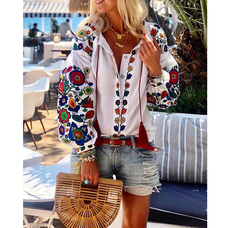 New Women White Floral Ethnic Style Embroidered Blouse And Tops Long Sleeve Turn Down Collar Elegant Shirt Blusas Mujer De Moda