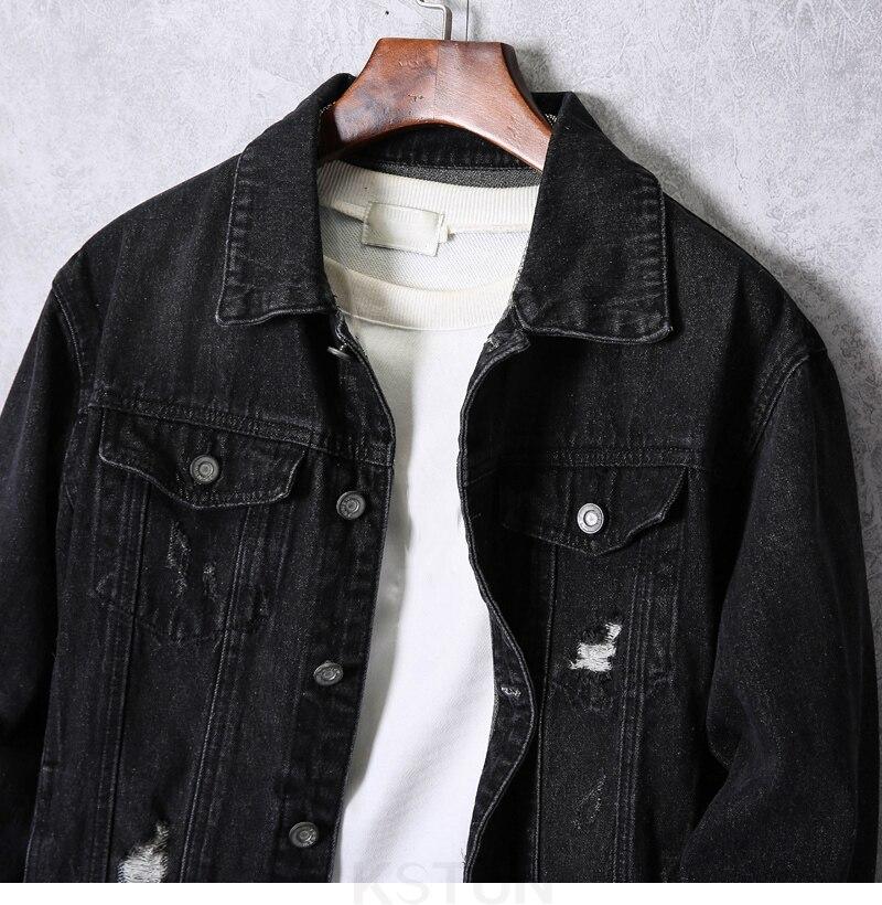 KSTUN 2019 Denim Jacket Men Spring Autumn Dark Gray Jean Jacket Fashion Hole Hip Hop Cowboy Jacket Streetwear Mens Casacas Para Hombre 12