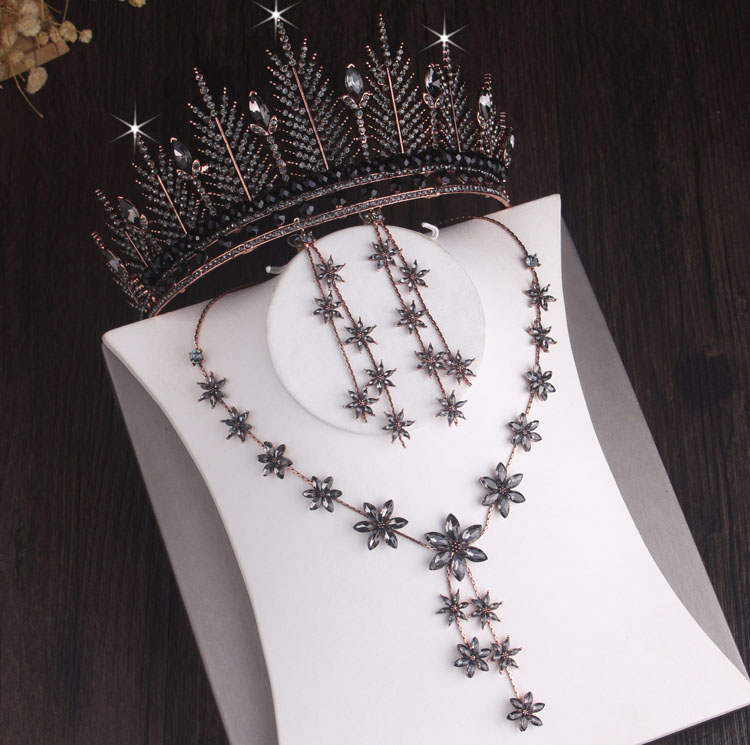 Baroque Black Crystal Snow Flowers Bridal Jewelry Sets Rhinestone Crown Tiaras Choker Necklace Earring African Beads Jewelry Set
