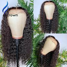 Alicrown 180% Density 13x4 Curly Lace Front Human Hair Wigs Brazilian Wigs For Women Human Hair Wig 4x4 Closure Wig Pre plucked