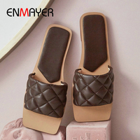 ENMAYER Pigskin Plaid Women Slippers Kid Suede Summer Indoor Shoes Woman Shallow Flat Square Heel Cute Slippers LightBlue Shoes