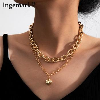 Goth Punk Miami Cuban Chunky Chain Necklace Multilayer Hiphop Aluminum Link Metal Love Heart Pendant Choker Sexy Women Jewelry