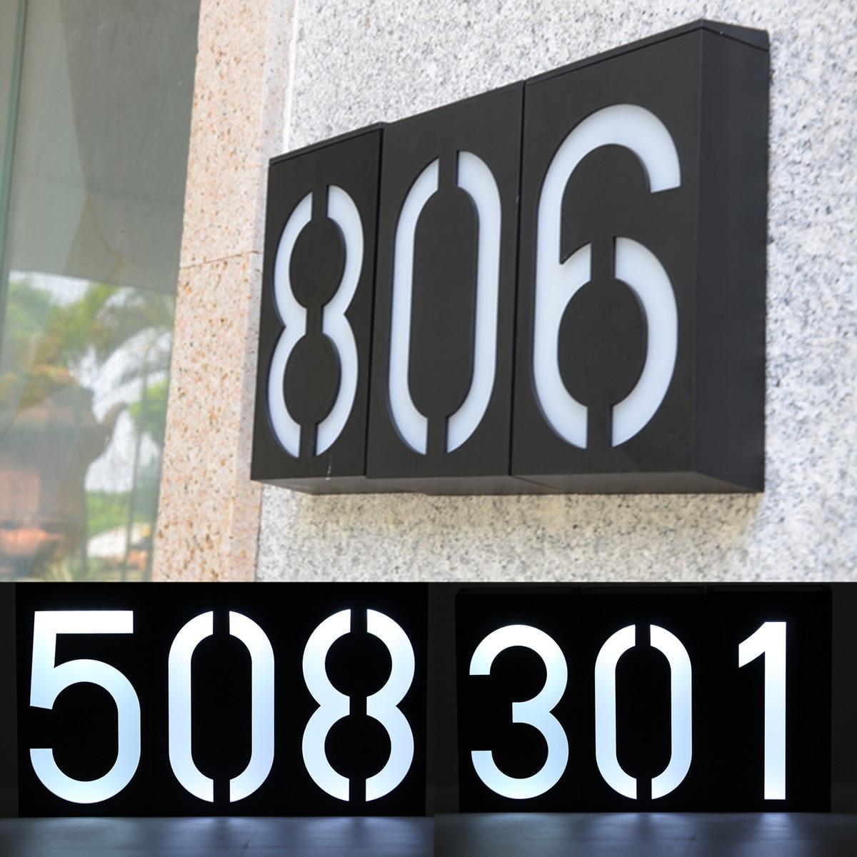 Solar Power 6 LED Number Light Sign House Hotel Door Address Plaque Digit Plate Tool Waterproof Wall Light Sunlight Lamp
