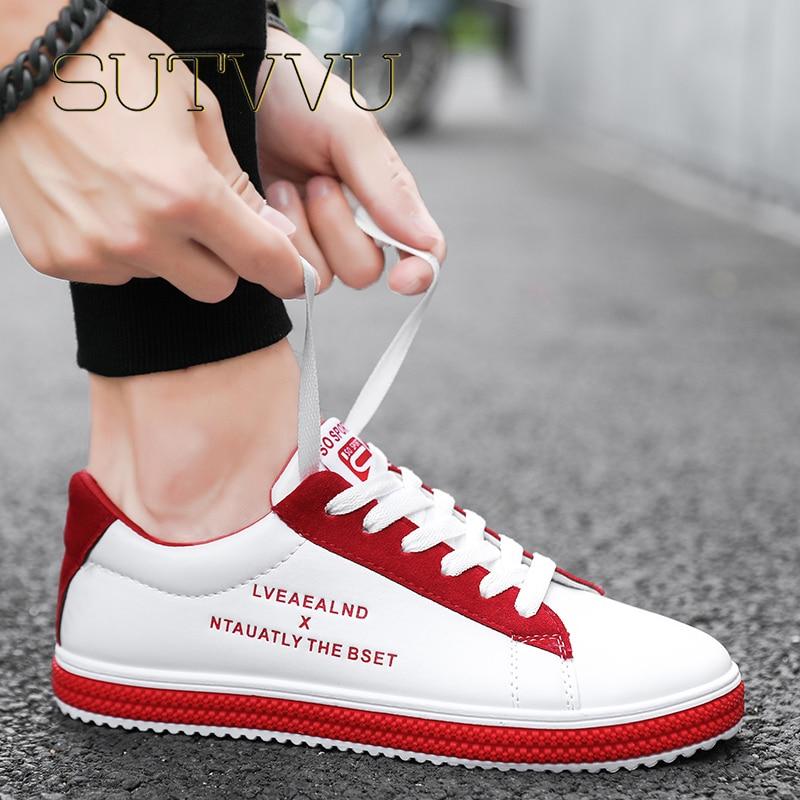 SUTVVU Men's Fashion Casual Shoes Sneakers For Men Flats Trainers Walking Vulcanize Lace Up Light Weight Men Leisure Shoes 2020