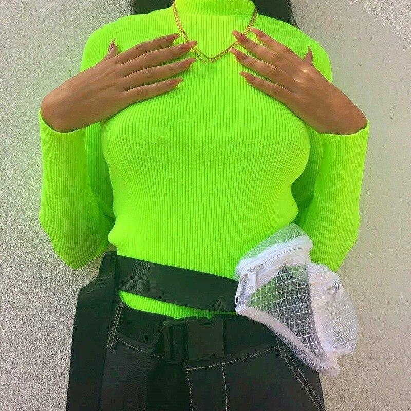Fashion Female Long Sleeve Knitted Tops Women Fluorescent Green Slim Sweater Autumn Winter Turtleneck Thin Knitwear