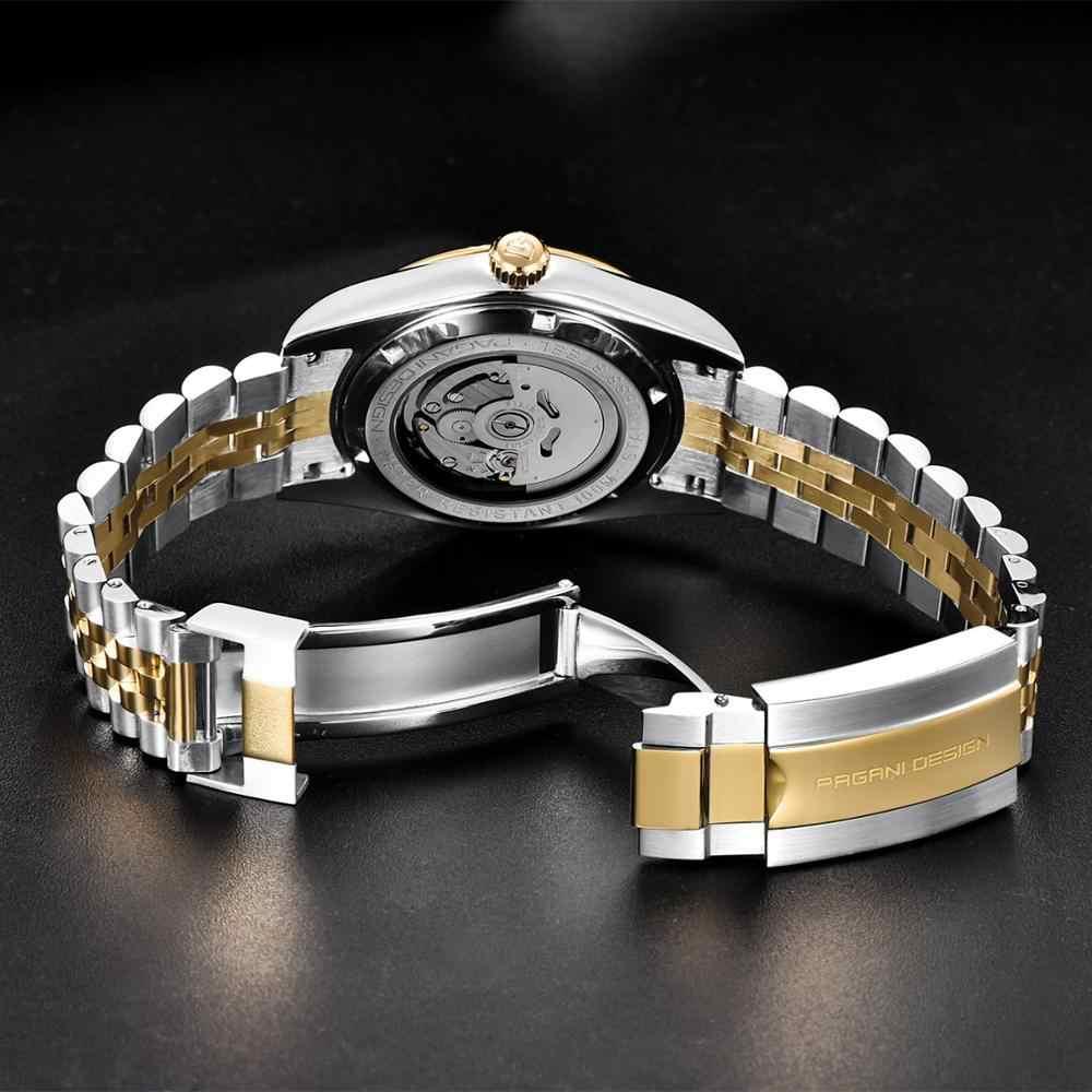 パガーニデザインファッションメンズ腕時計ステンレス鋼ビジネスミリタリー自動機械式 100 メートル防水時計レロジオ masculino