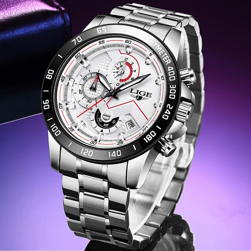 Relógios masculinos lige nova moda de aço inoxidável topo marca luxo multi função cronógrafo relógio de pulso de quartzo relogio masculino|Relógios de quartzo| |  - title=
