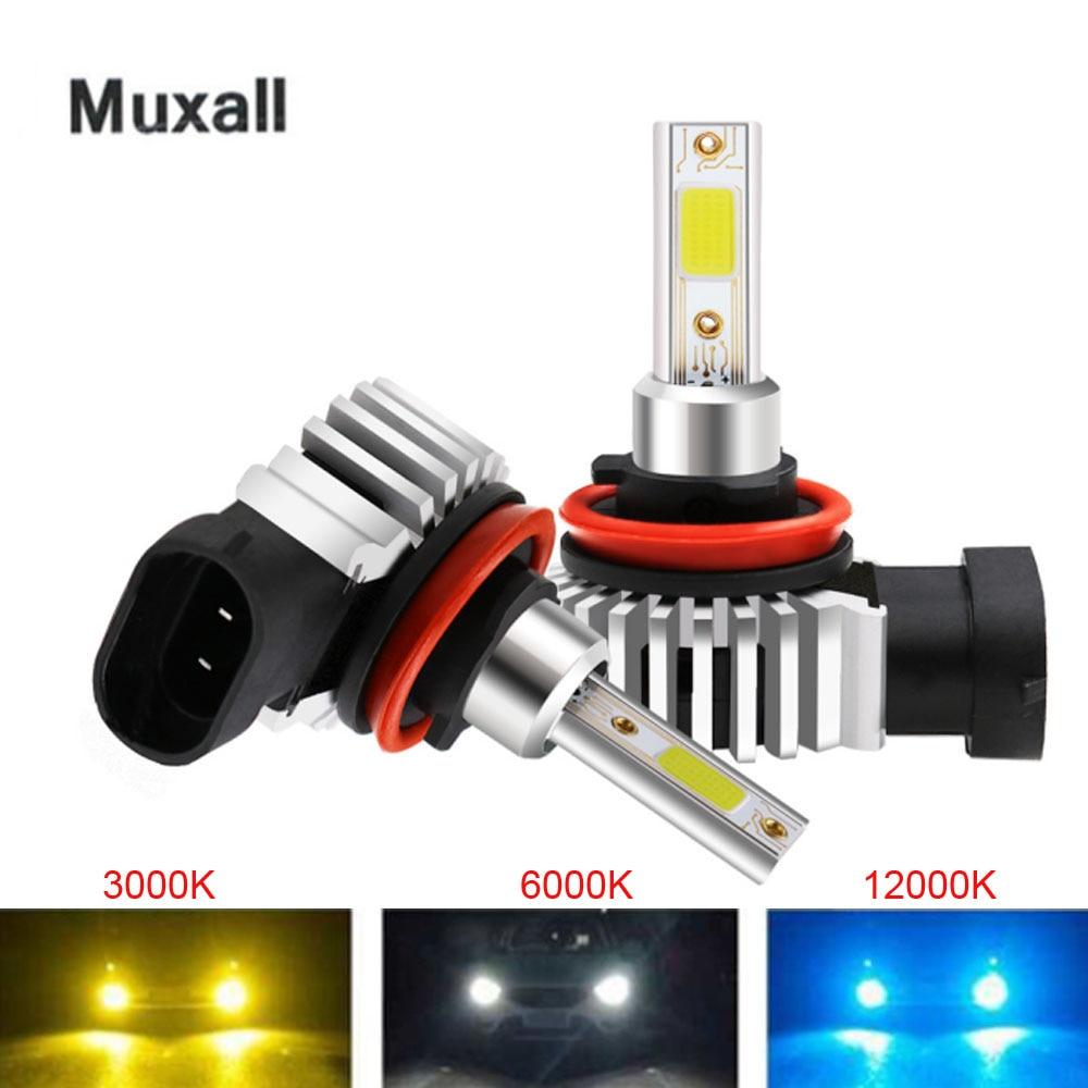 2 шт. H7 светодиодный турбо автомобилей головной светильник H1 H4 H11 9005 HB3 9006 HB4 9012 H7 лампа 12000LM 6000K мини Размеры Автомобильные фары головного свет...
